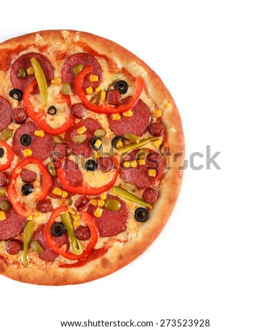 Pizza Pepperoni with salami, sausage, frankfurters, red pepper, cucumber, corn, green and black olives isolated on white - stock photo