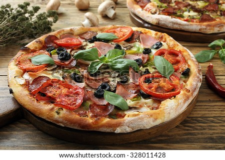 pizza rustic background - stock photo