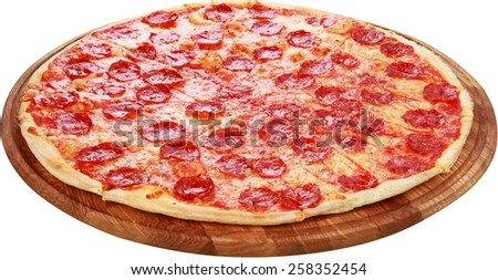Pizza, Salami, Portion. - stock photo