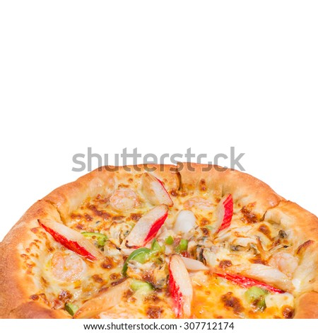 pizza seafood on white isolated background