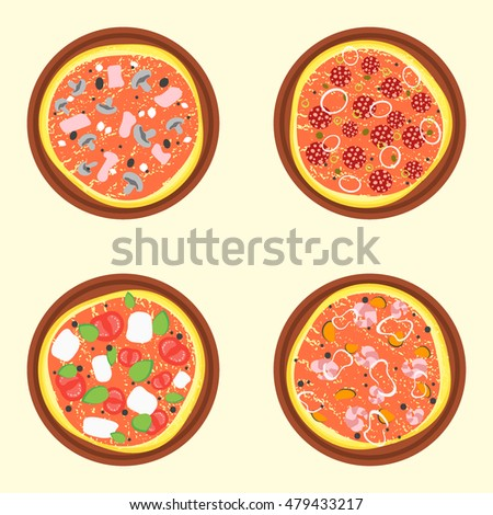 Pizza Set. A Variety Of Types. Flat Design Style. illustration