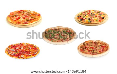 Pizza set isolated on white