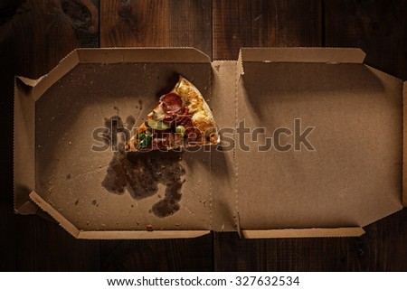 pizza slice in the in delivery box you can put your writing on the box - stock photo