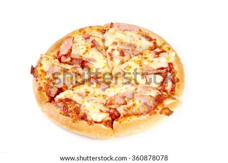 Pizza slice isolated on white background. - stock photo