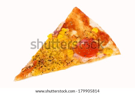 Pizza slice piece appetizing isolated on white