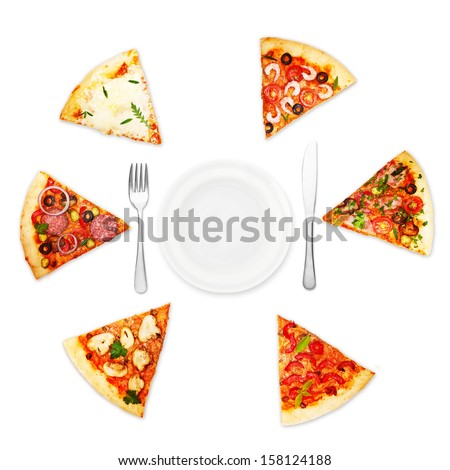 Pizza slice with different toppings and plate with fork and knife isolated on white background. - stock photo