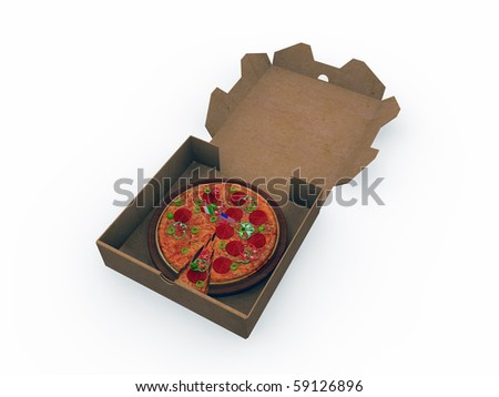 pizza take away isolated on white background