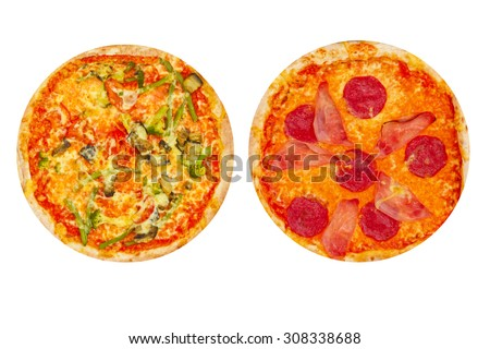 Pizza vegetarian and pizza with ham and salami