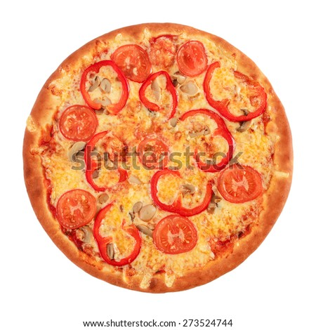 Pizza Vegetarian with tomatoes, red peppers and mushrooms isolated on white - stock photo