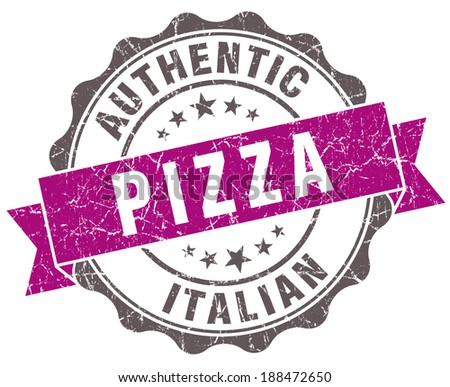 Pizza violet grunge retro style isolated seal - stock photo