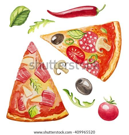 pizza watercolor - stock photo