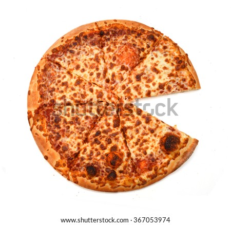 Pizza with a slice removed. Isolated on white.