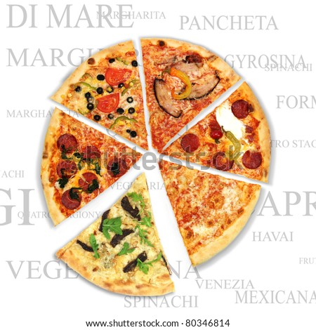 Pizza with a text background - stock photo
