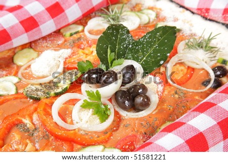 Pizza with a variety of vegetables