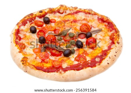 Pizza with anchovies and olives on white background - stock photo