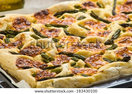 Pizza with asparagus and cheese - stock photo