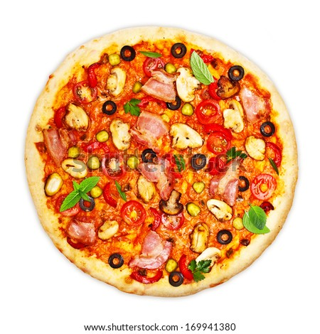 Pizza with bacon and mushrooms isolated on white background. - stock photo