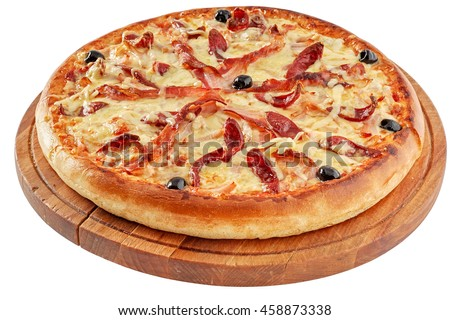 Pizza with bacon and  smoked meat