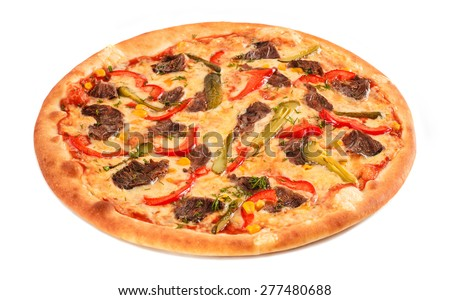 Pizza with beef, sweet pepper, cucumber, sweet corn, cheese and greens isolated on white. Italian cuisine. - stock photo
