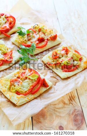 pizza with bell peppers and onions leek, food close up - stock photo