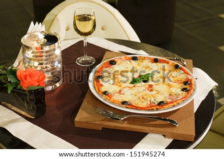pizza with cheese - stock photo