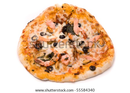 Pizza with cheese, sauce a mafia, a cream from artichokes, shrimps, mussels, olives, sauce of Pesto, tomatoes dried and a salmon smoked