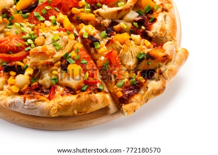 Pizza with chicken and vegetables on white background