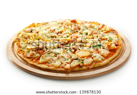 Pizza with Chicken Breast, Pineapple and Mozzarella Cheese - stock photo