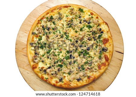 Pizza with Chicken on wooden plate - stock photo