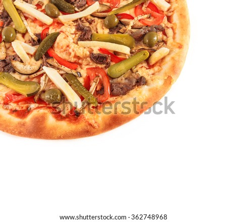 Pizza with eggplant, beef, tomato, cucumber, green olives, and cheese, isolated on white - stock photo