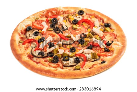 Pizza with eggplant, ham, red pepper, tomato, cucumber, black olives, corn,  isolated on white - stock photo