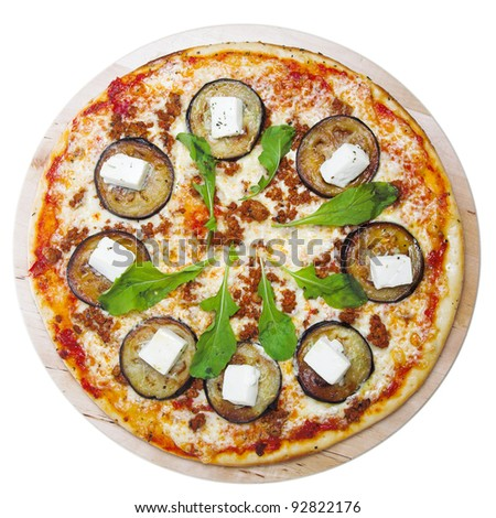 pizza with eggplant isolated on white background - stock photo