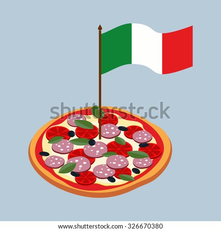 Pizza with flag of Italy. Italian national food.