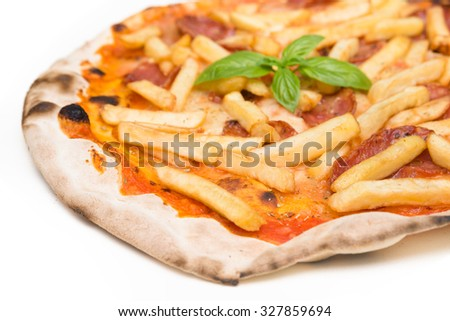Pizza with french fries and salami