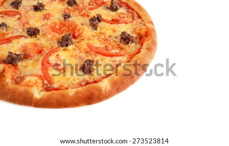 Pizza with ground beef, tomatoes and cheese isolated on white