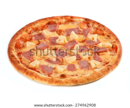Pizza with ham and pineapple isolated on white - stock photo
