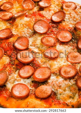 Pizza with ham, close up