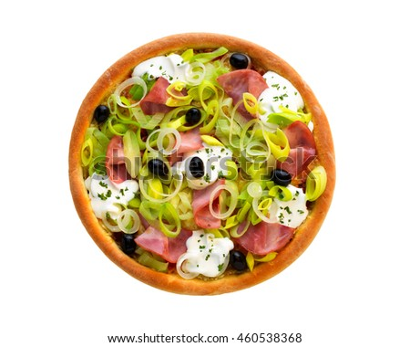 Pizza with ham, leek, onion, olive, cheese