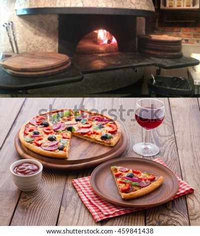 Pizza with ham, pepper and olives. Pizza on wooden table near the stove fire. Pizza top view square.
