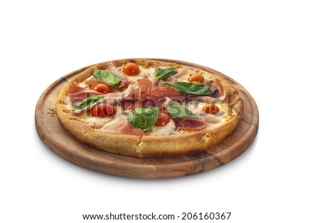 pizza with ham, tomatoes, cheese and herbs on chalk board isolated on white background