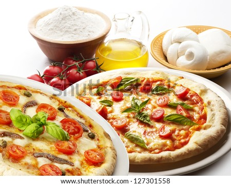 pizza with ingredients isolated on white background - stock photo