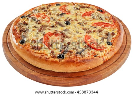 Pizza with minced meat and mushrooms