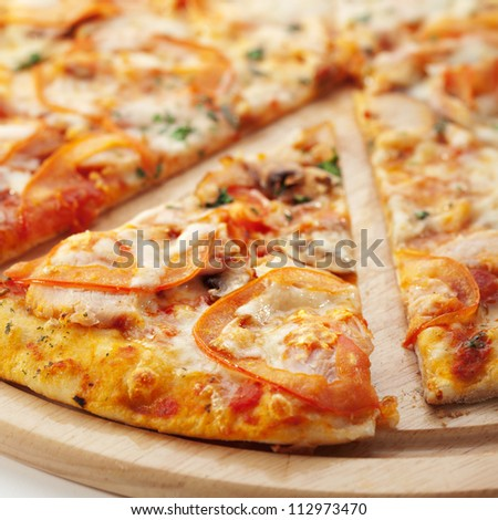 Pizza with Mozzarella, Bacon and Mushrooms - stock photo