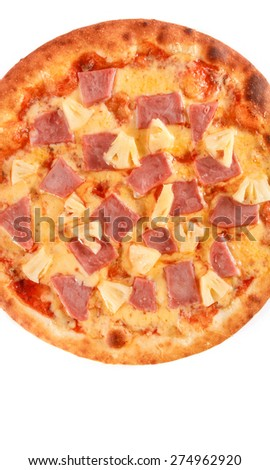 Pizza with Mozzarella Cheese, Ham, Pineapple and Sauce isolated on white - stock photo