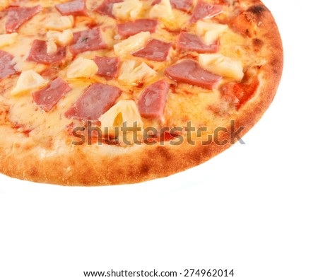Pizza with Mozzarella Cheese, Porc Ham, Pineapple and Sauce isolated on white - stock photo