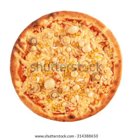 Pizza with mushroom, corn and cheese isolated on white - stock photo