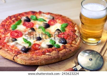 Pizza with mushrooms - stock photo