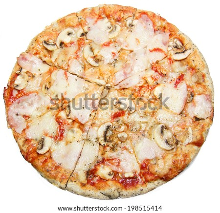 Pizza with mushrooms cheese and ham isolated on white background, Round tasty pizza capriciosa cut on slices in close up - stock photo