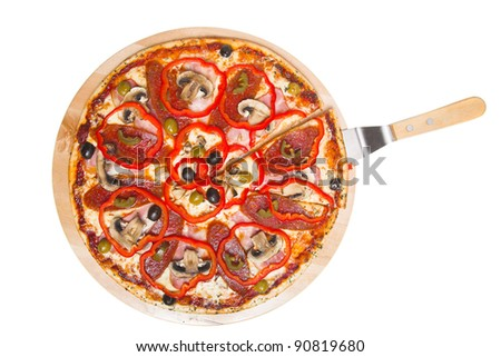 pizza with mushrooms isolated on white background