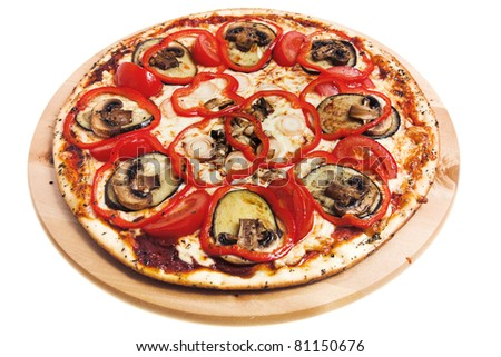 pizza with mushroomsisolated on white background